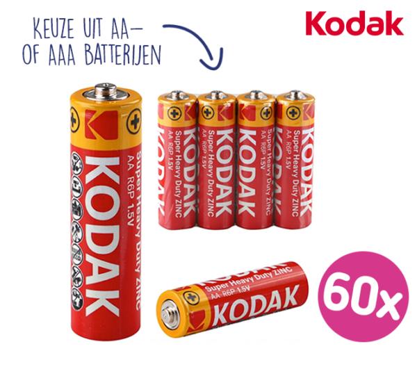 60-PACK Kodak Super Heavy Duty Batterijen   Kies uit AA- of AAA-batterijen